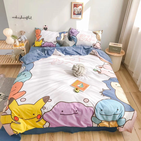 Pikachu Pokemon Bed sheet/Quiltcover/Pillowcover K14528