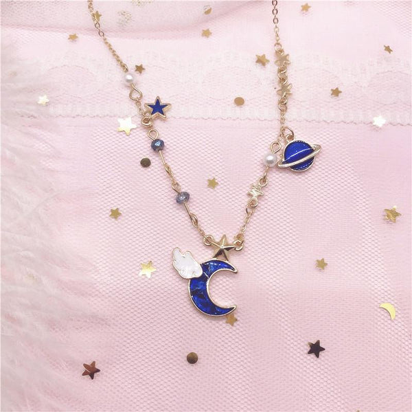 Blue/Pink Space Moon Necklace K14191
