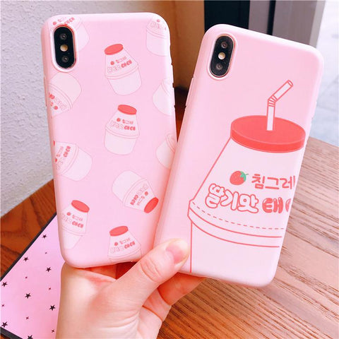 Pink Strawberry Milk Phone Case