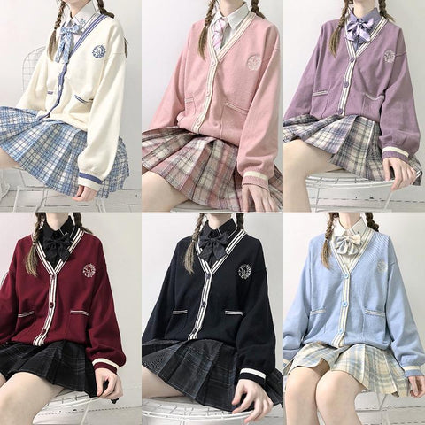 Cute Gril JK School Uniform Cardigan Sweater K15499 - kawaiimoristore