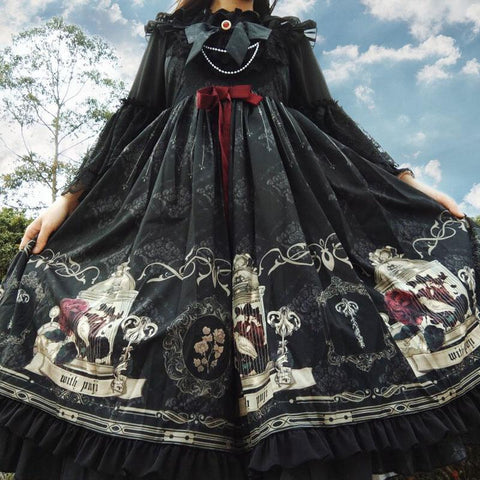 Dark Lolita Sling Dress KK0840 - kawaiimoristore