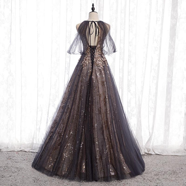 Dark Grey High Neck Tulle Lace Long Prom Dress Formal Dress K14755