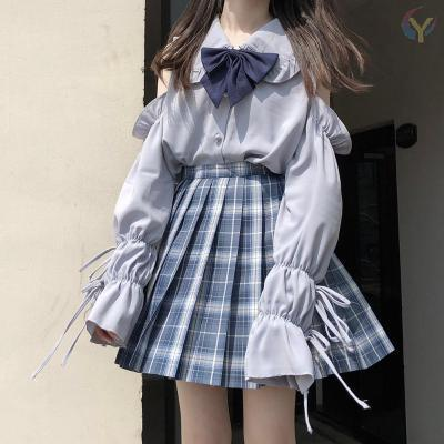 Cute Off-shoulder Long Sleeve Top+Pleated Skirt Two Piece Set K15127 - kawaiimoristore