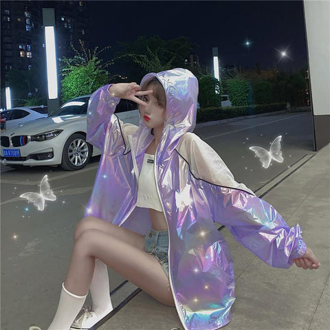 Reflective Butterfly Bright Hoodie Coat K14998