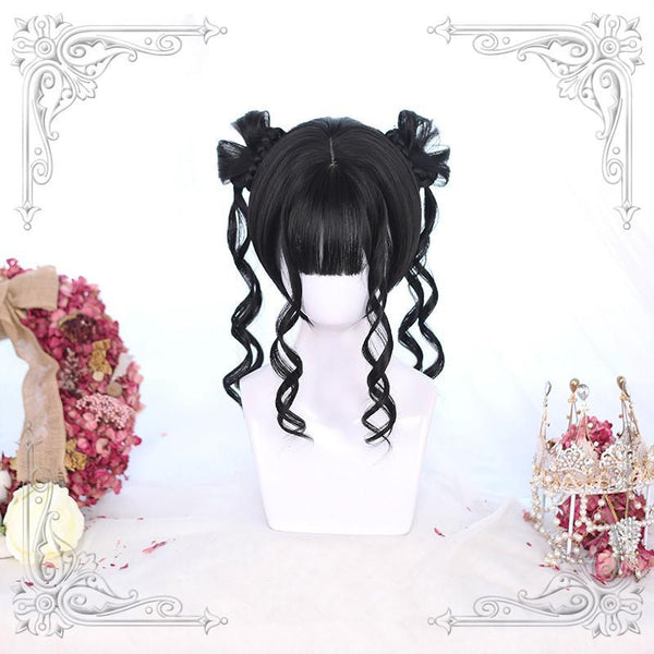 Red/Black Tiger mouth Clip Double Ponytail Cute Wig K14631