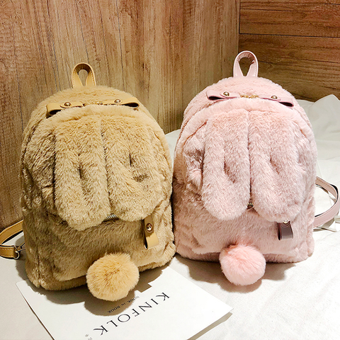 Kawaii Bunny Ear Plush Backpack K15635 - kawaiimoristore