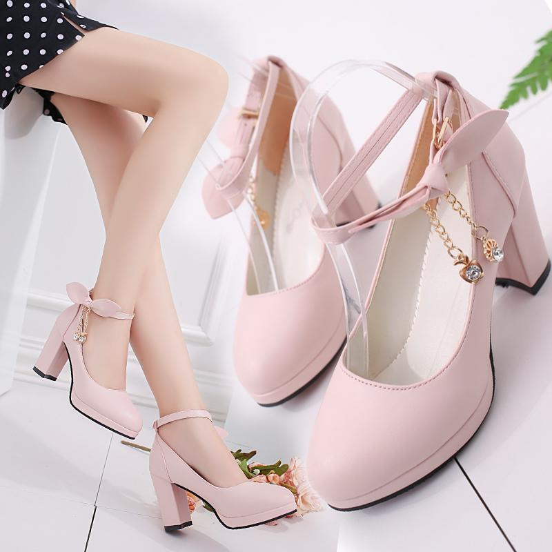 Pink/White/Black Lolita Bow High Heels Sandals Shoes K14160 - kawaiimoristore