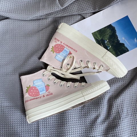 Sweet Pink Milk Strawberry Patterned High-top Canvas Shoes K15316 - kawaiimoristore