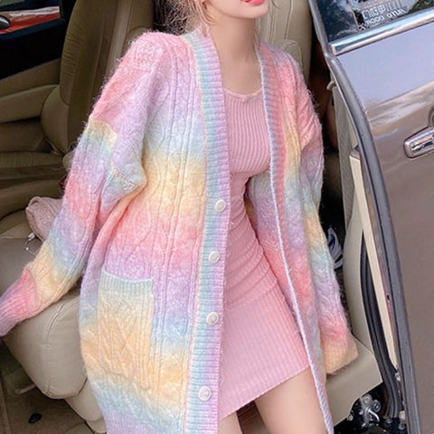 Rainbow Furry Sweater Coat K15259 - kawaiimoristore
