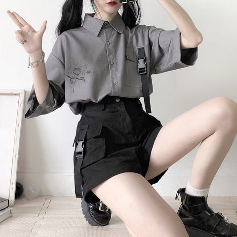 Retro Grey White Printed Shirt And Shorts Two-piece Set K15057 - kawaiimoristore