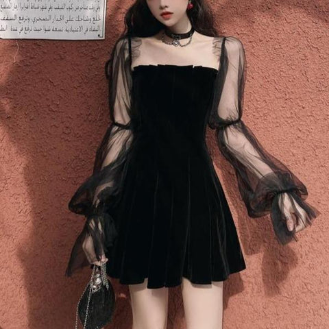 Black Gothic Off-shouldered Lace Bubble Sleeve Dress K15128 - kawaiimoristore