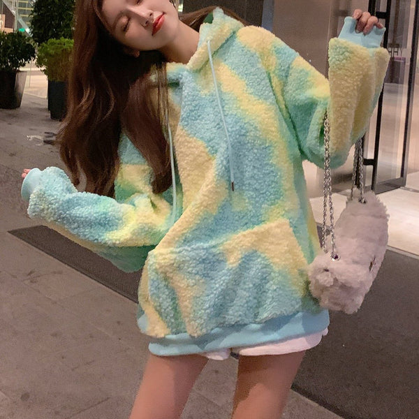 Warm Sweet Fur Rainbow Hoodie Sweatshirt K15392 - kawaiimoristore