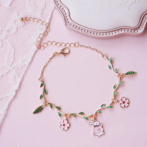 Sweet Green Leaves Flower Bunny Bracelet