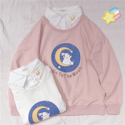 Cartoon Rabbit Moon Print Long Sleeve Top K15407 - kawaiimoristore