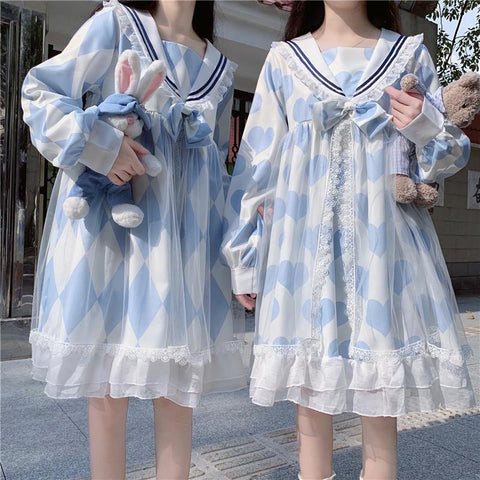 Japanese Cute Gril Lolita Navy Dress K15551 - kawaiimoristore