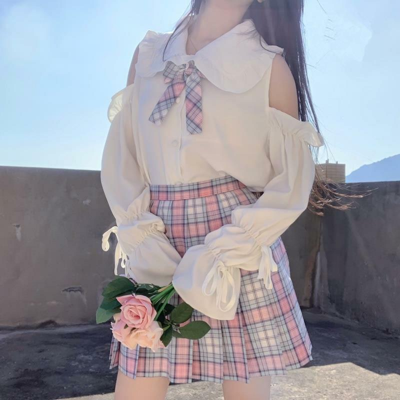 Fashion Splicing Off-shoulder Shirt+Pleated Skirt Two Piece Set K15119 - kawaiimoristore