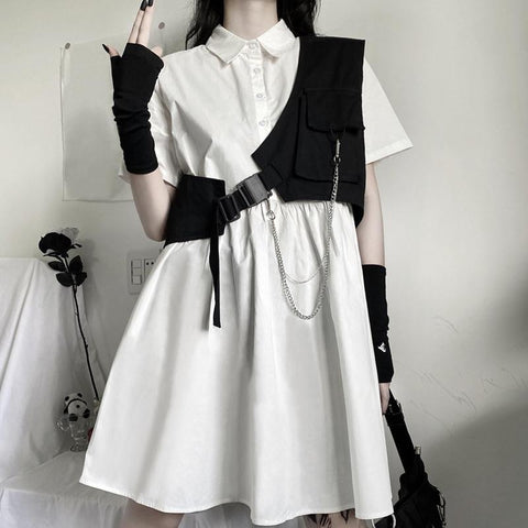 Dark Gothic Short Sleeve Blouse Dress Work Clothes Vest Two Piece Set K15237 - kawaiimoristore