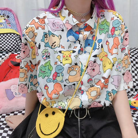 Kawaii Pokemon Printing Blouse/Shirt K13993 - kawaiimoristore