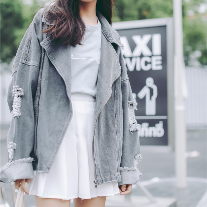 Grey Ripped Denim Jacket KW179157