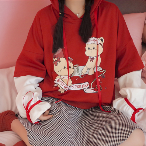 Red Cartoon Printing Hoodie Fleece KW179259