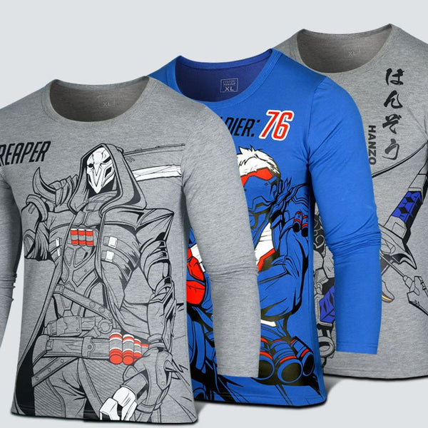 Overwatch Reaper, Soldier:76, Hanzo Printed Long-sleeved Shirt