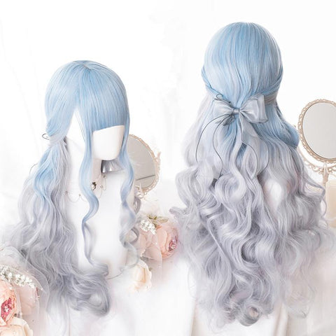 Pastel Blue Grey Lolita Long Curl Wig K13929