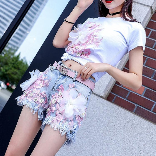 Pastel Flowers Embroidery Tee Shirt K13661