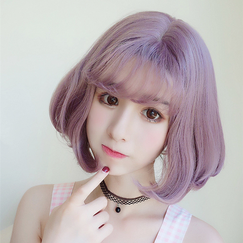 Pastel Light Purple Gradient Air Bang Wig KW1812572