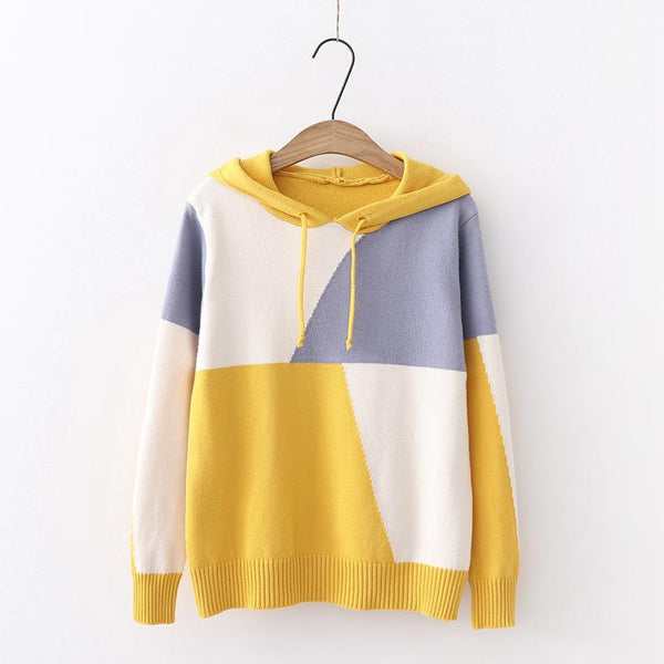 Pastel Mixed Color Hoodie Knitting Sweater K12866