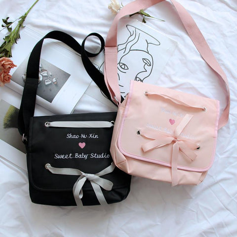 Pink/Black Sweet Baby Heart Cross Body Bag K13416