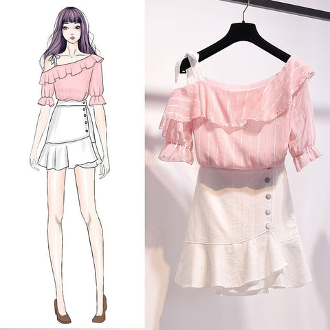 Pink/Blue/White Fairy Falbala Off-Shoulder Shirt/Skirt Set K14090