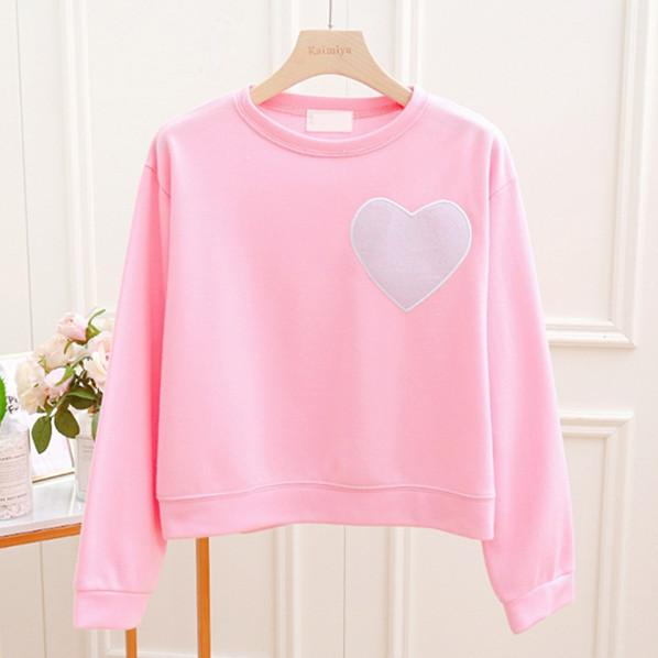 Pink/Blue/White Sweet Heart Pullover Shirt K12993