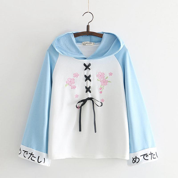 Pink/Blue Flower Embroidery Laced Hoodie Jumper K12997
