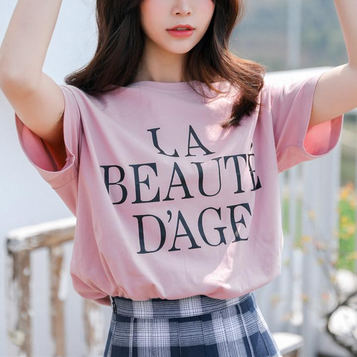 Pink/Blue Laced Tee Shirt/Pleated Skirt K13641