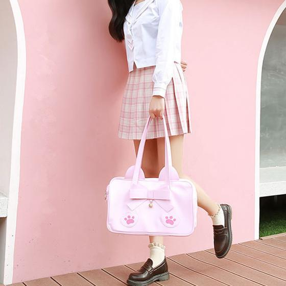 Pink/Brown Kawaii Cat Paws Bow Handbag K14024