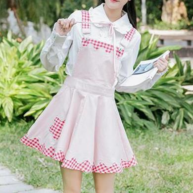 Pink/Brown Pastel Grid Ruched Star Suspender Dress K13341