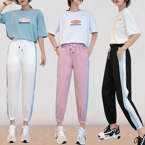 Pink/White/Black Loose Stripe Sports Pants K14062