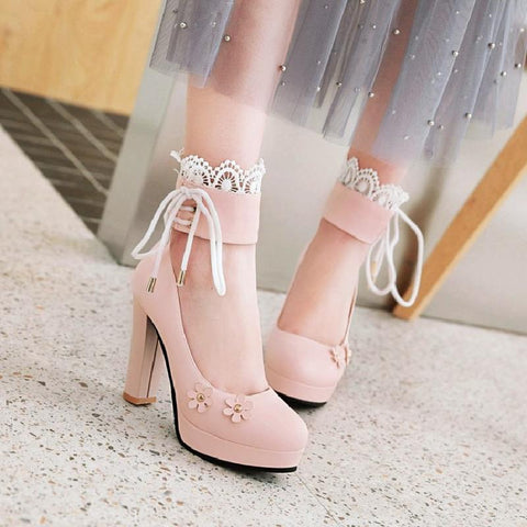 Pink/White/Black Sweet Lace Flower Lolita High Heel Shoes K14072