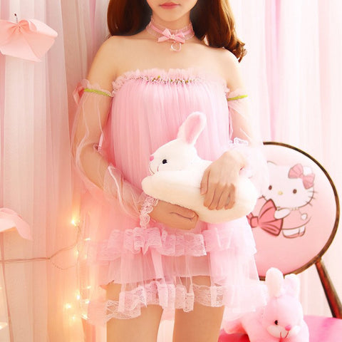 Pink/White Sweet Net Yarn Dew Shoulder Dress