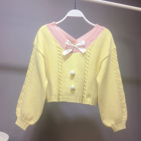 Pink/Yellow/Blue Sweet Bow Short Sweater KP13315