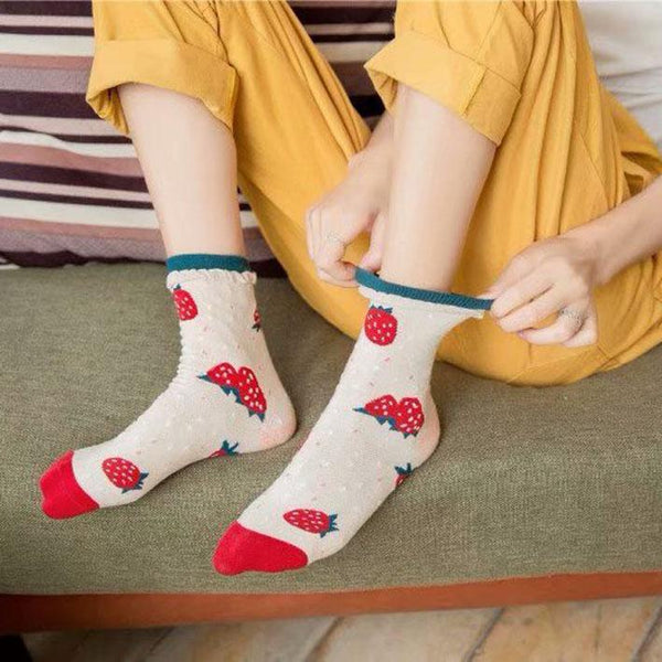Pink/Yellow Cute Strawberry Orange Socks