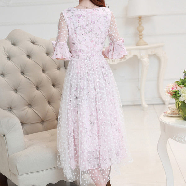 Pink Floral Prints Chiffon Long Dresses KW178890
