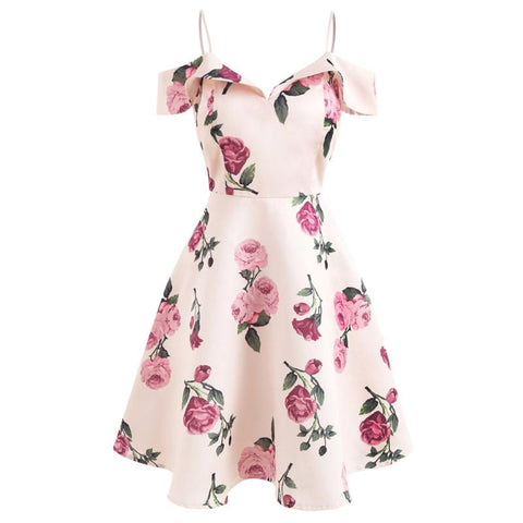 Pink Floral Spaghetti Strip Dress K13875
