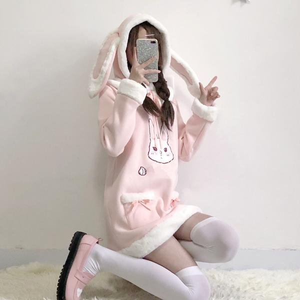 Pink Fluffy Bunny Hoodie Dress KW1711453