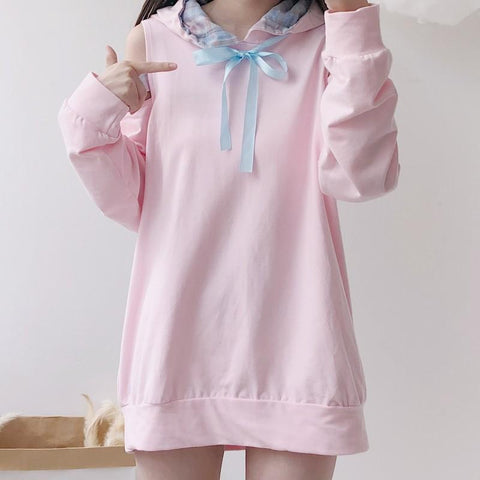 Pink Kawaii Off-Shoulder Hoodie Jumper K13499