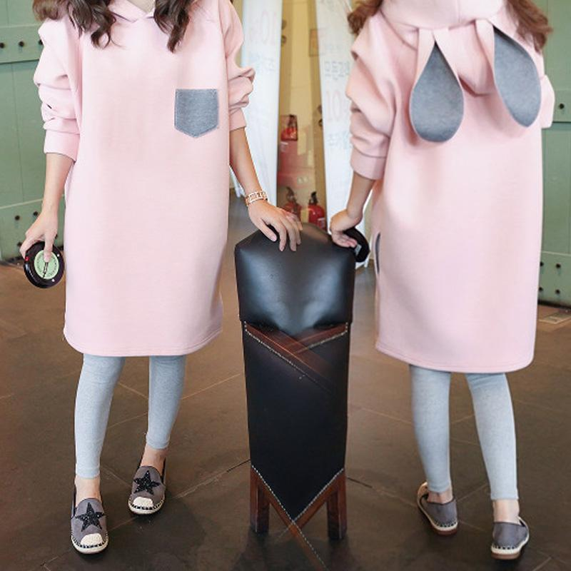 Pink Bunny Ear Hoodie Pullover KW1711334