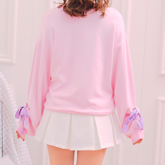 Pink Cartoon Bow Sweatshirt
