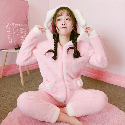 Pink Cartoon Bunny Ear Hoodie Coat + Pants Pajamas KW1711385