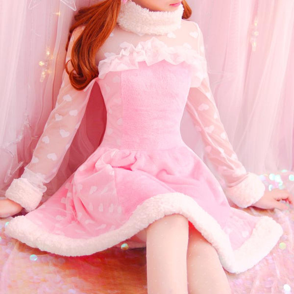 Pink Princesses Dot Spliced Lace Dress KW1711075