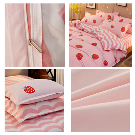 Pink Sweet Strawberry Printing Bed Sheet Set 4 Pieces KW1710582